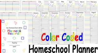 Color Coded Homeschool Planner