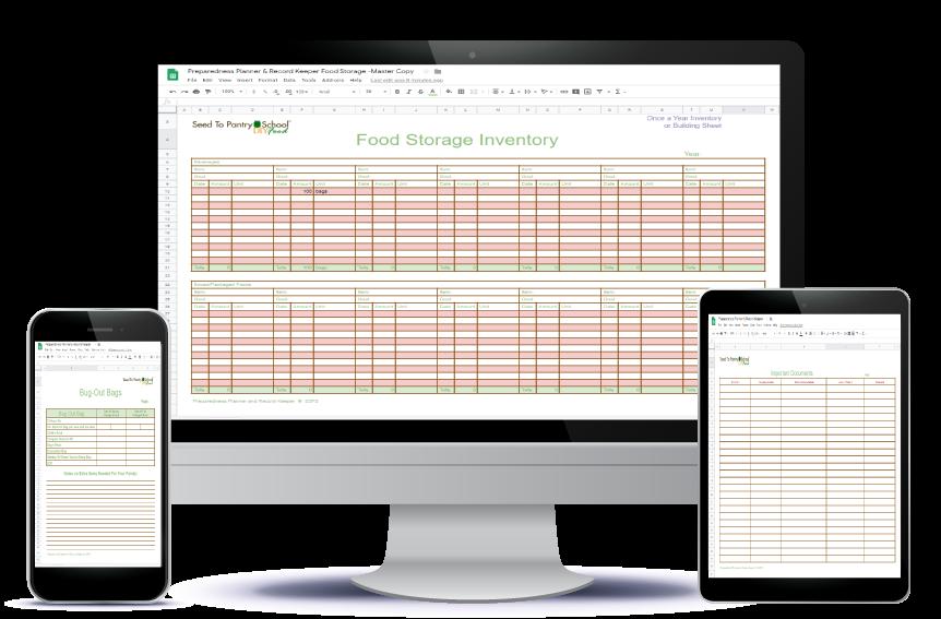Bonus food storage spreadsheets